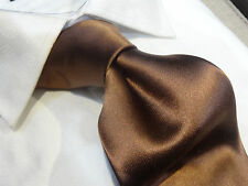 Steven Land Big Knot Silk tie Necktie Solid Satin Brown