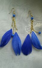 "Lovely Feather Tassle Pierced Earrings 5"" Long Royal Blue"