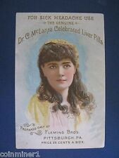 Dr McLanes Celebrated Liver Pills - Victorian Trade Card -NICE