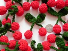 "10! Sweet Crochet Wool Padded 3D Cherry Embellishments 50mm/2"" - Yummy Cherries!"