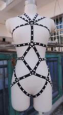 BLACK ELASTIC HARNESS CAGE BODYSUIT w/ Pearls /COSTUME/DRAG QUEEN/ S&M BONDAGE