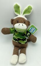 Sock Monkey Boy Bunny Green Camo Easter Plush Stuffed Animal Toy New 12 inch