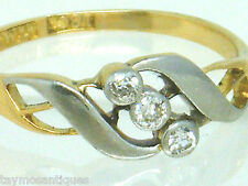 Antique 18k gold 18ct  gold old mine cut sparkly diamond trilogy ring size O