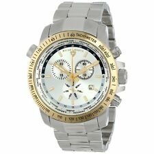 SWISS LEGEND 10013-22S-GB WORLD TIMER SILVER DIAL GOLD BEZEL STAINLESS STEEL!