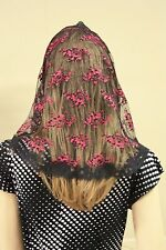 Pink Black veil mantilla Catholic church chapel scarf lace headcovering - Med