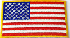 US American Flag Gold Border Iron Sew On Patch USA United States Embroidered