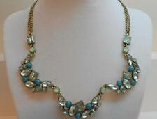 Betsey Johnson Mint Multi Crystal Gem Cluster Necklace MSRP $58