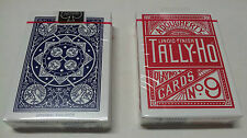 2 mazzi di Carte da gioco Tally-ho Fan Back standard index rosso e blu poker
