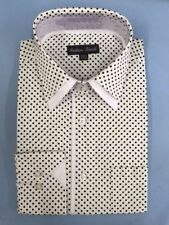 Men's Mini Polka Dot Fashionable Cotton Dress Shirt #617 White & Black