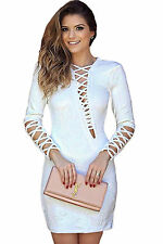 Abito cono ricamato Zip lacci nudo Scollo Stringhe Cerimonia Mini Party Dress M