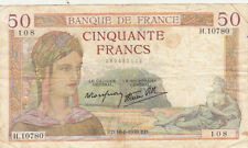 BILLET BANQUE 50 Frs CERES 10-08-1939 ED H.10780 état voir scan