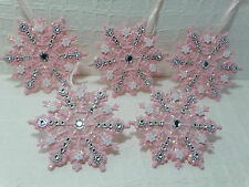 "Shabby Christmas Cottage Chic Pink Glitter 4"" Snowflake Ornaments Decoration 5"