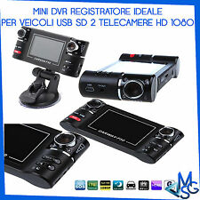 DVR HD REGISTRATORE PER AUTO 2 TELECAMERE LED FOTO VIDEO MICRO SD TV OUT