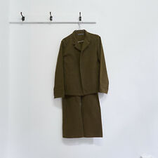 Y'S BY LIMI YOHJI YAMAMOTO brown cotton drill open jacket trouser suit M S