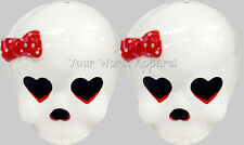 SKULL SALT AND PEPPER SHAKERS CERAMIC SOURPUSS GIRLY PUNK ROCKABILLY GOTH CUTE!