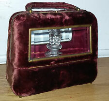 Antique Victorian Red Velvet & Beveled Glass Perfume Casket w/ Cut Glass Bottle