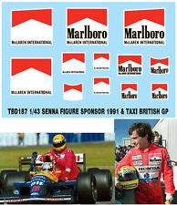1/43 SENNA FIGURE SPONSOR  & TAXI  1991 BRITISH F1 GP DECALS TB DECAL TBD187