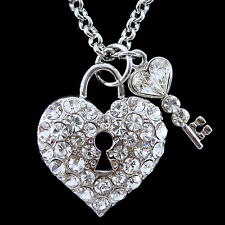 18K White Gold-Plated Twinkling Big Heart Key USE SWAROVSKI Crystal Necklace