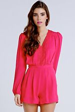 BNWT Girls on Film Pink Lace Trim Long Sleeve Evening Occasion Playsuit Size 14