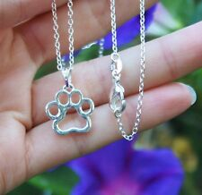.925 Sterling Silver NECKLACE Paw Print Silhouette Pendant Dogs Cats Pet Gift