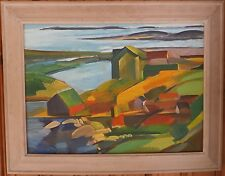 Peggy's Cove, Nova Scotia Modernist Oil Painting-1960s-Israel Louis Winarsky