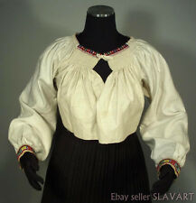 SLOVAK FOLK COSTUME embroidered linen blouse Carpatho-Rusyn ethnic dress Torysky