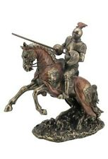 "12.5"" Jousting Armored Knight w/ Eagle Emblem Medieval Statue Sculpture Horse"
