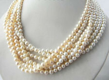 Beautiful 18'' 7Strands 6-7mm White Natural Freshwater Pearl Jewelry Necklace AA
