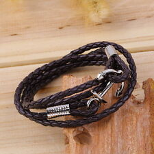 Women Men Multilayer Genuine Leather Handmade Cuff Wristband Anchor Bracelet OE