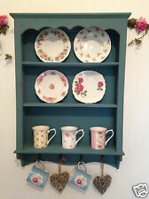 Shabby Chic Cabinet Wooden Wall Unit Vintage Display Kitchen Shelf Cupboard Blue