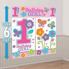 1st BIRTHDAY Sweet Girl WALL POSTER DECORATING KIT (5pc) ~ First Party Supplies