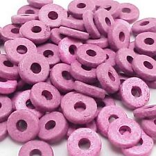 8mm Greek Disk Beads 2.7mm Hole Purple G53 Disc Rondelle Spacer Ceramic Thin