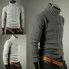 New Mens Stylish Slim Fit Turtle Neck Knit Winter Warm Casual Sweaters Tops XS-L