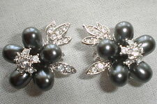 Nolan Miller Silver Tone/Crystals/Gray Faux Pearl Clip Signed Earrings