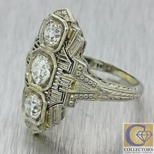 1920s Antique Art Deco Estate 18k Solid White Gold 1.60ctw Diamond Navette Ring