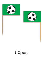 50 PCS FOOTBALL SOCCER SANDWICH PICK FOOD GREEN FLAGS Euros Birthday Party 60098