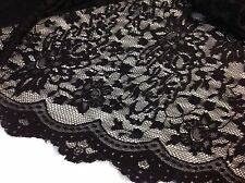 "NEW Designer Black 4 Way Stretch Floral Lace Fabric 63""161cm 2 Side Scalp Border"