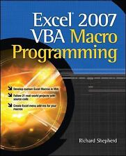 Excel 2007 VBA Macro Programming by Richard Shepherd (2009, Paperback)