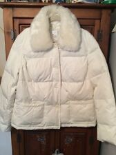 ANN TAYLOR LOFT White Quilted Puffer Jacket with Removable Faux Fur Collar XL