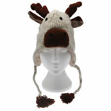 Fun Reindeer Handmade Winter Woollen Animal Hat Fleece Lining One Size, UNISEX