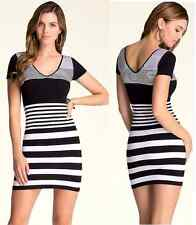 NWT bebe XXS XS S black white striped dress bodycon skirt top bodybon club