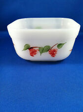 Fire King White Mini Square Baking Dish With Painted Fruit by Gay Fad Studio