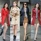 Women Double Breasted Long Coat Belted WaistTurn-Down Collar Trench Coat