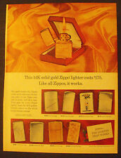 1965 Zippo Lighters 14K Solid Gold Colorful Golf Sports Memorabilia Promo Ad
