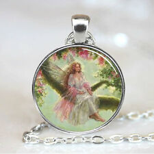 Vintage angel Cabochon Tibetan silver Glass Chain Pendant Necklace #F81