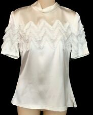 Louis Vuitton Blouse White Silk ShortSleeve Ribbon Trim Size 36