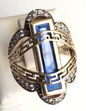 NEW COLLECTION! TURKISH HANDMADE SAPPHIRE TOPAZ STERLING SILVER 925K RING SIZE 9