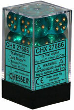 Chessex Dice d6 Set 16mm Borealis Teal w/ Gold Pips 6 Sided Die 12 CHX 27686