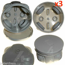 3 x Weatherproof junction box small round 65mm x 35mm with grommets cable wire