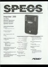 Rare Orig Factory Peavey Impulse 200 Speakers Dealer Specs Brochure Manual